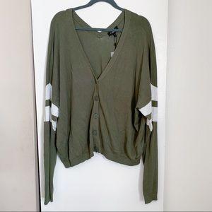 Express Green Cardigan Sweater